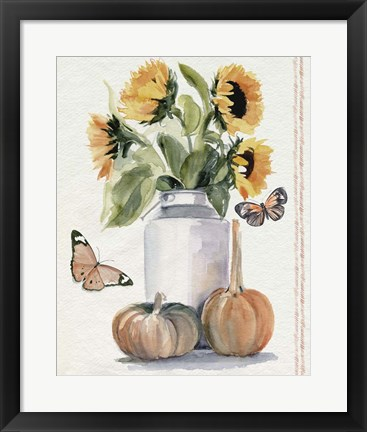 Framed Autumn Sunflowers II Print