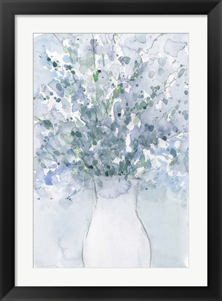 Framed Powder Blue Arrangement in Vase I Print