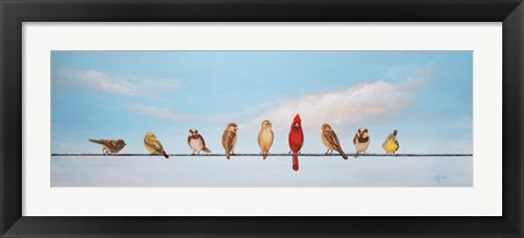 Framed Sweet Birds on a Wire I Print
