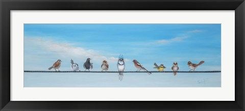 Framed Sweet Birds on a Wire II Print