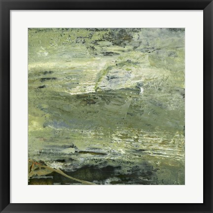 Framed Encaustic Tile in Green VIII Print