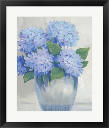 Framed Blue Hydrangeas in Vase II Print