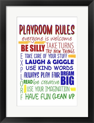 Framed Playroom Rules Print