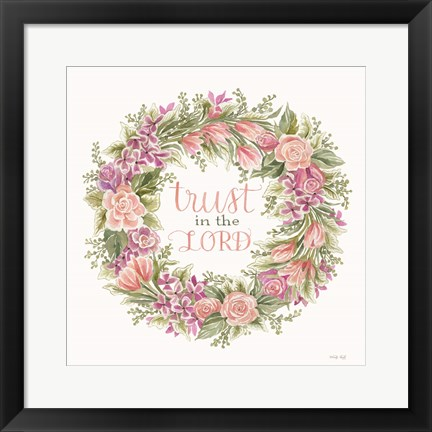 Framed Trust in the Lord Floral Wreath Print
