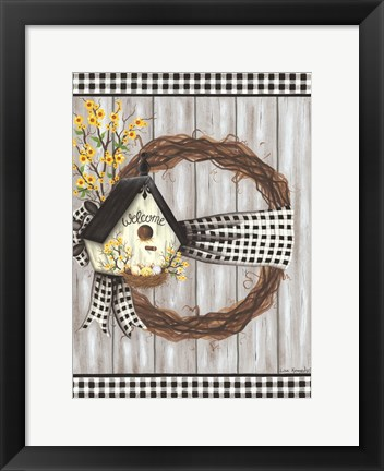 Framed Spring Welcome Wreath Print