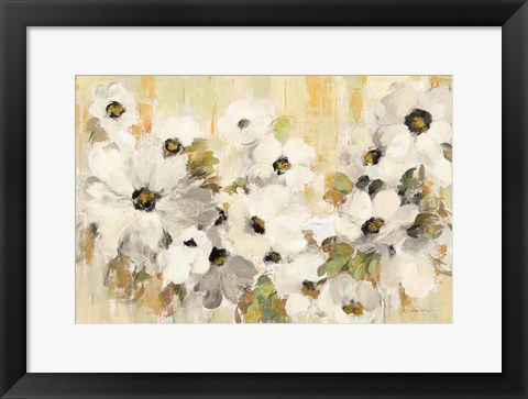 Framed White and Green Bloom Print