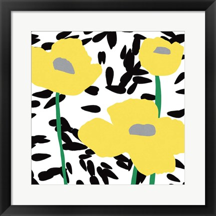 Framed Yellow Mod Poppies Print