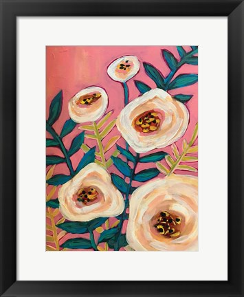 Framed White Flowers on Pink Print