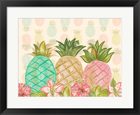Framed Pineapple Trio with Flowers Print