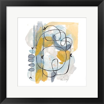 Framed Dreaming In Gold And Blue I Print