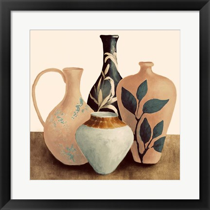 Framed Decorative Beige Vessels II Print