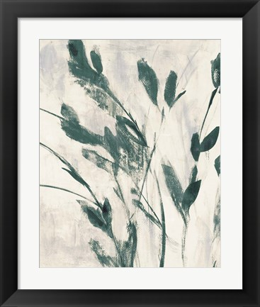 Framed Green Misty Leaves II Print