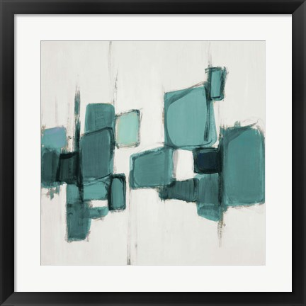 Framed Teal Cityside I Print