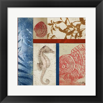 Framed Nautical Surroundings Squares I Print