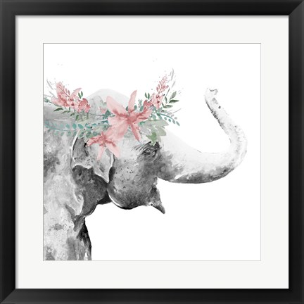 Framed Water Elephant with Flower Crown Square Print