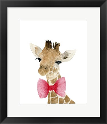 Framed Giraffe With Bow Print