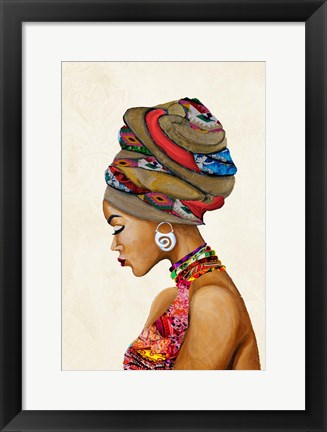 Framed African Goddess on Beige Print