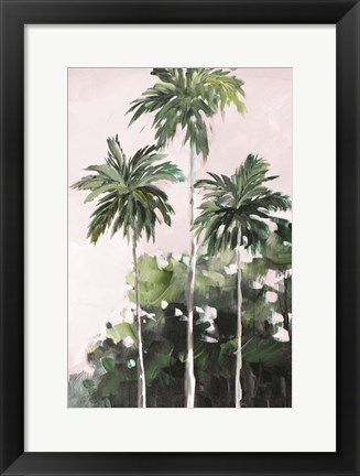 Framed Palms Under A Pink Sky Print