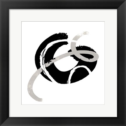 Framed Scrolling Black & White Abstract  I Print