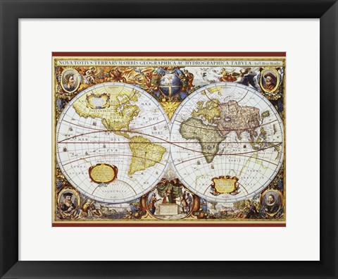Framed Map of the World III Print