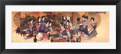 Framed Ladies Playing Game Print