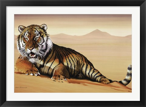Framed Tiger In Sand Print