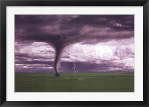 Framed Tornado And Lightning On Field Print
