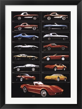 Framed Corvette 15 Models Print