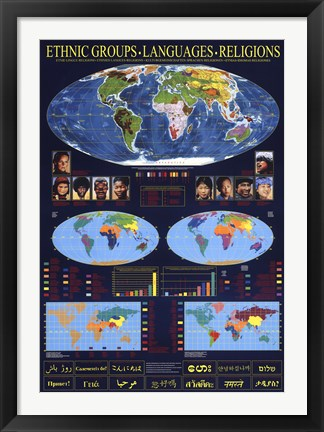 Framed World Map of Ethnic Groups, Languages, Religions Print