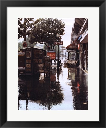 Framed Sidewalk in Rain Print