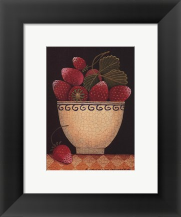 Framed Cup O'Strawberries Print