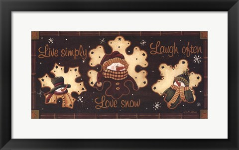 Framed Live Simply, Love Snow, Laugh Often Print