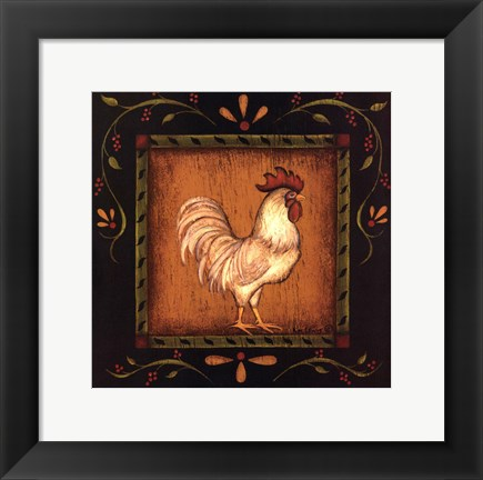 Framed Square Rooster Right Print