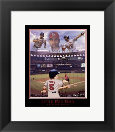 Framed Little Red Bird - Albert Pujols Print