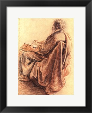 Framed Sepia Man Reading Print