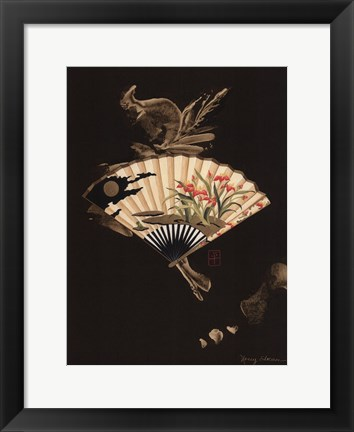 Framed Oriental Fan I Print