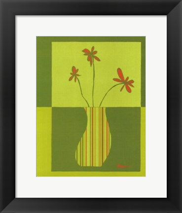 Framed Minimalist Flowers in Green III Print