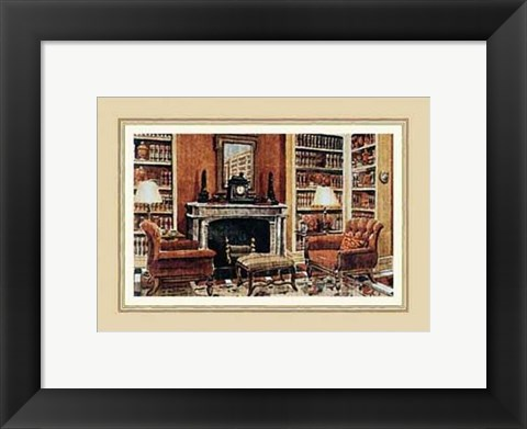 Framed Cozy Neoclassical Book Rooms Print