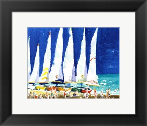 Framed Sailboats on the Beach Print