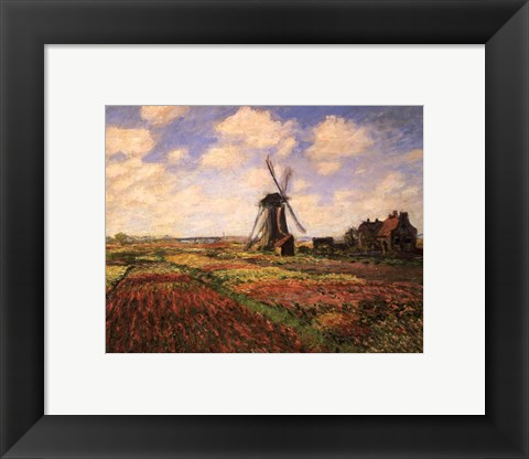 Framed Tulip Fields with Windmill Print