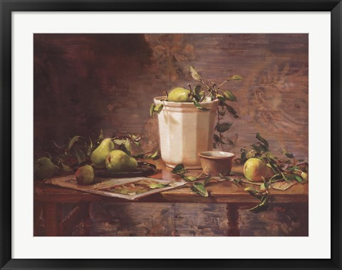 Framed Pears and Tapestry Print