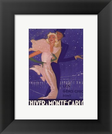 Framed L'Hiver a Monte Carlo Print