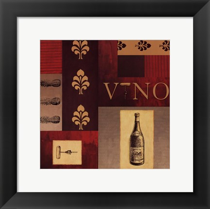 Framed Vino in Red I Print