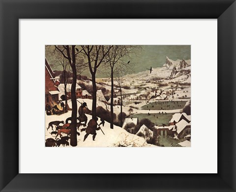 Framed Winter/Hunters in the Snow Print