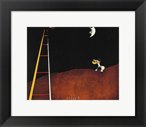 Framed Dog Barking at the Moon Print