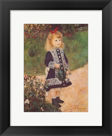 Framed Girl with a Watering Can Print