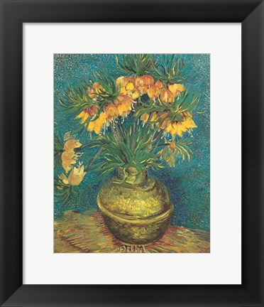 Framed Bell Lilies in a Copper Vase Print