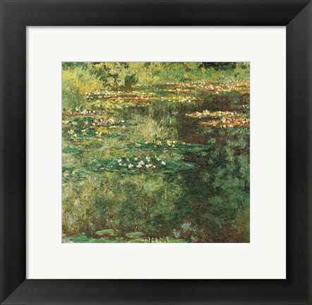 Framed Pool with Waterlilies, 1904 Print