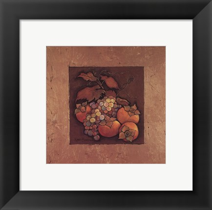 Framed Persimmons and Grapes Print