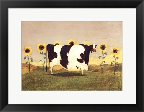 Framed Cow With Sunflowers Print